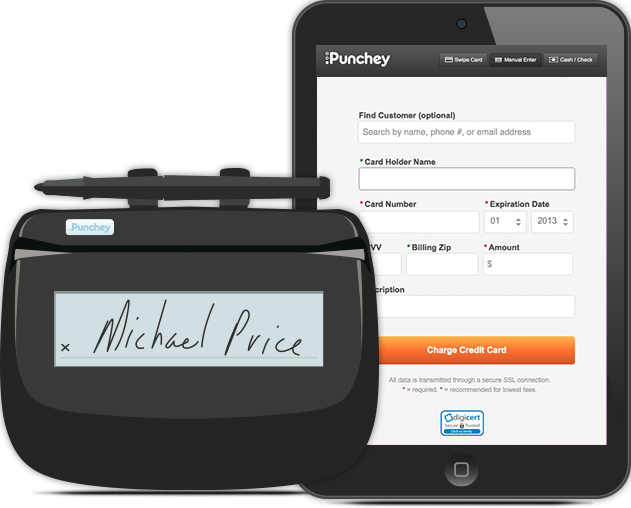 Punchey paypad and Mobile app on an iPad