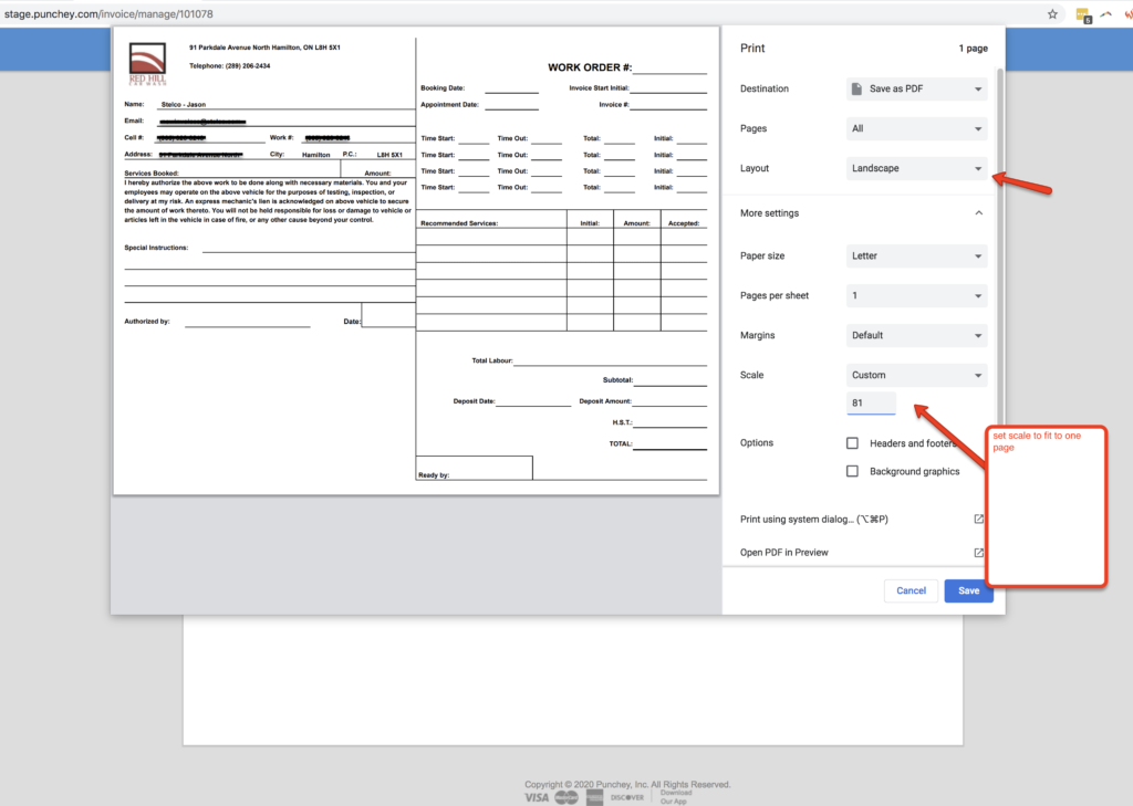 Custom Invoice Print Screen